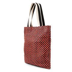 Navy and Red Checker Carryall - Back