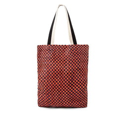 Navy and Red Checker Carryall - Front