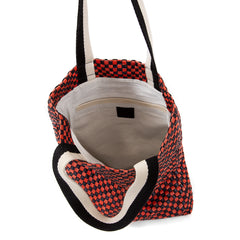 Navy and Red Checker Carryall - Interior