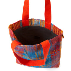 Poppy and Turquoise Woven Carryall - Interior