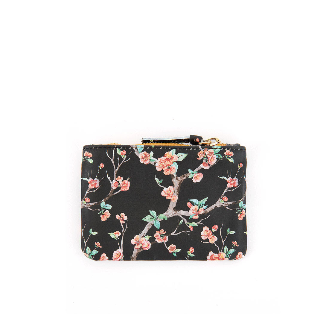 Black Cherry Blossom Coin Clutch - Back
