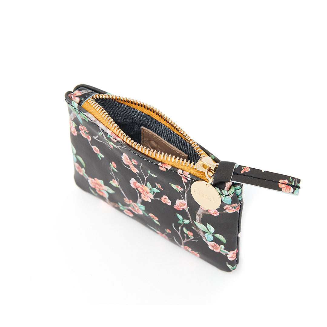 Black Cherry Blossom Coin Clutch - Interior
