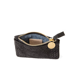 Black Snake Nubuck Coin Clutch - Interior