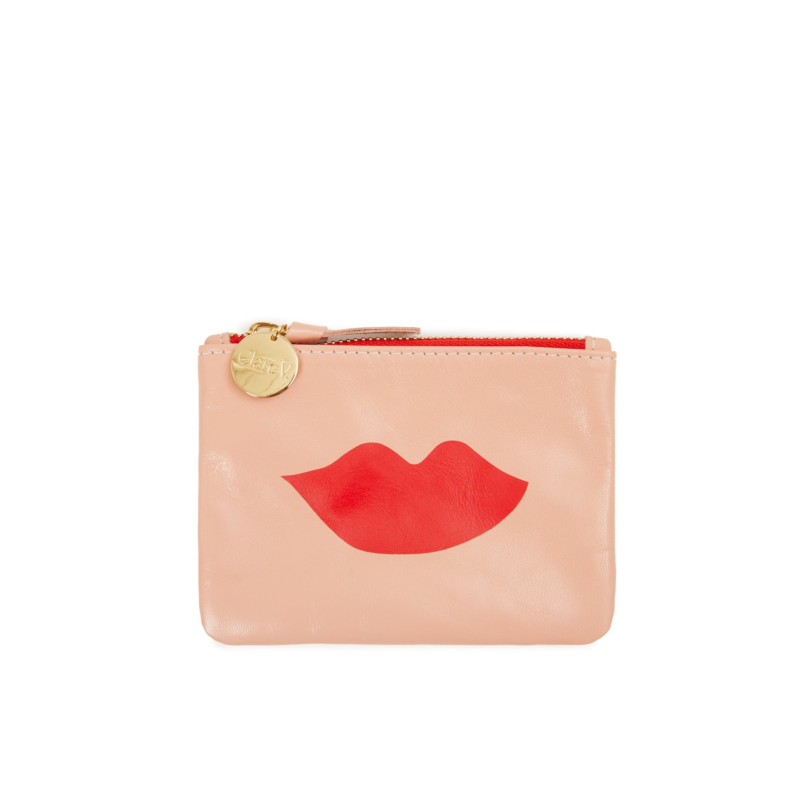 Coral Kid with Lips Coin Clutch  - Front