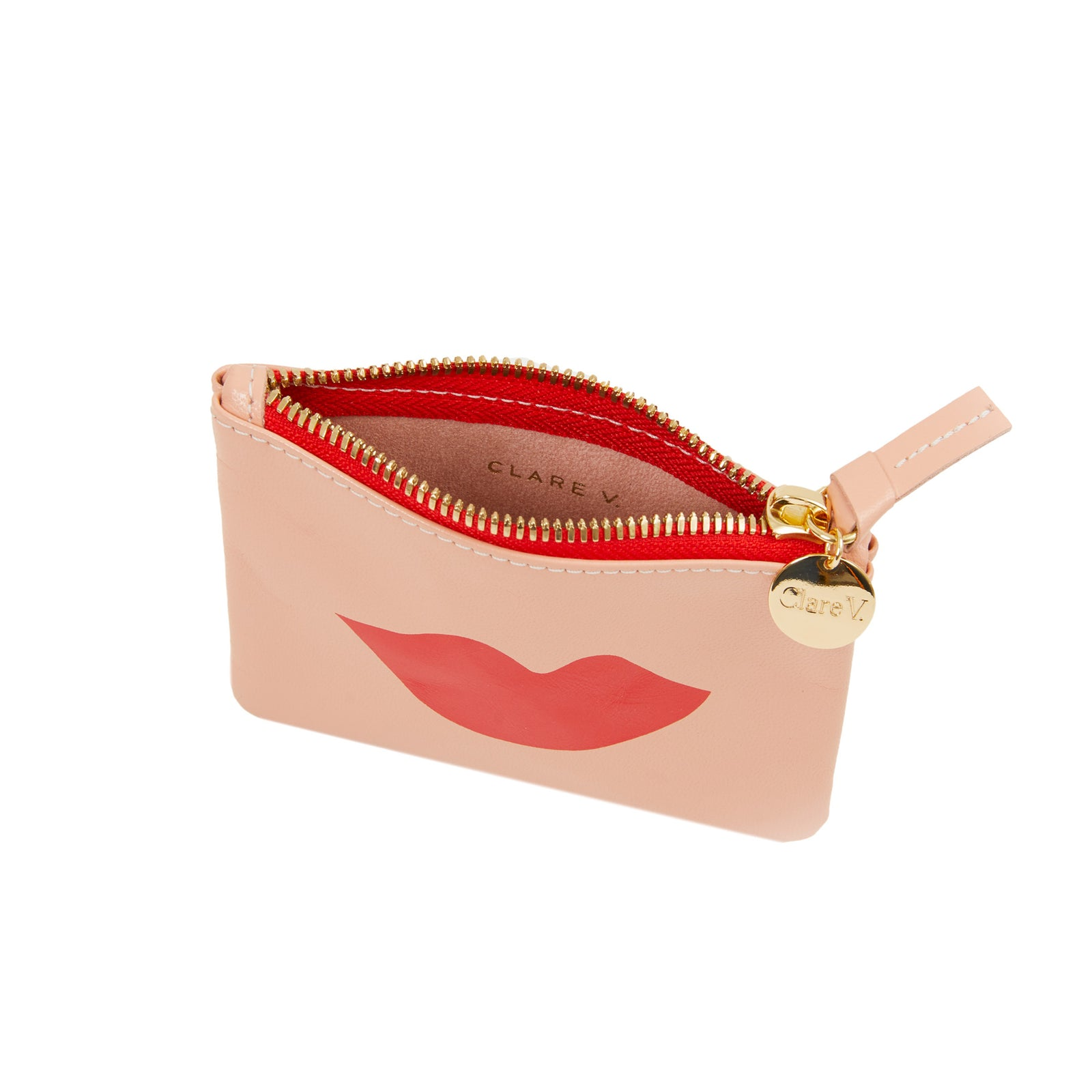 Coral Kid with Lips Coin Clutch  - Interior