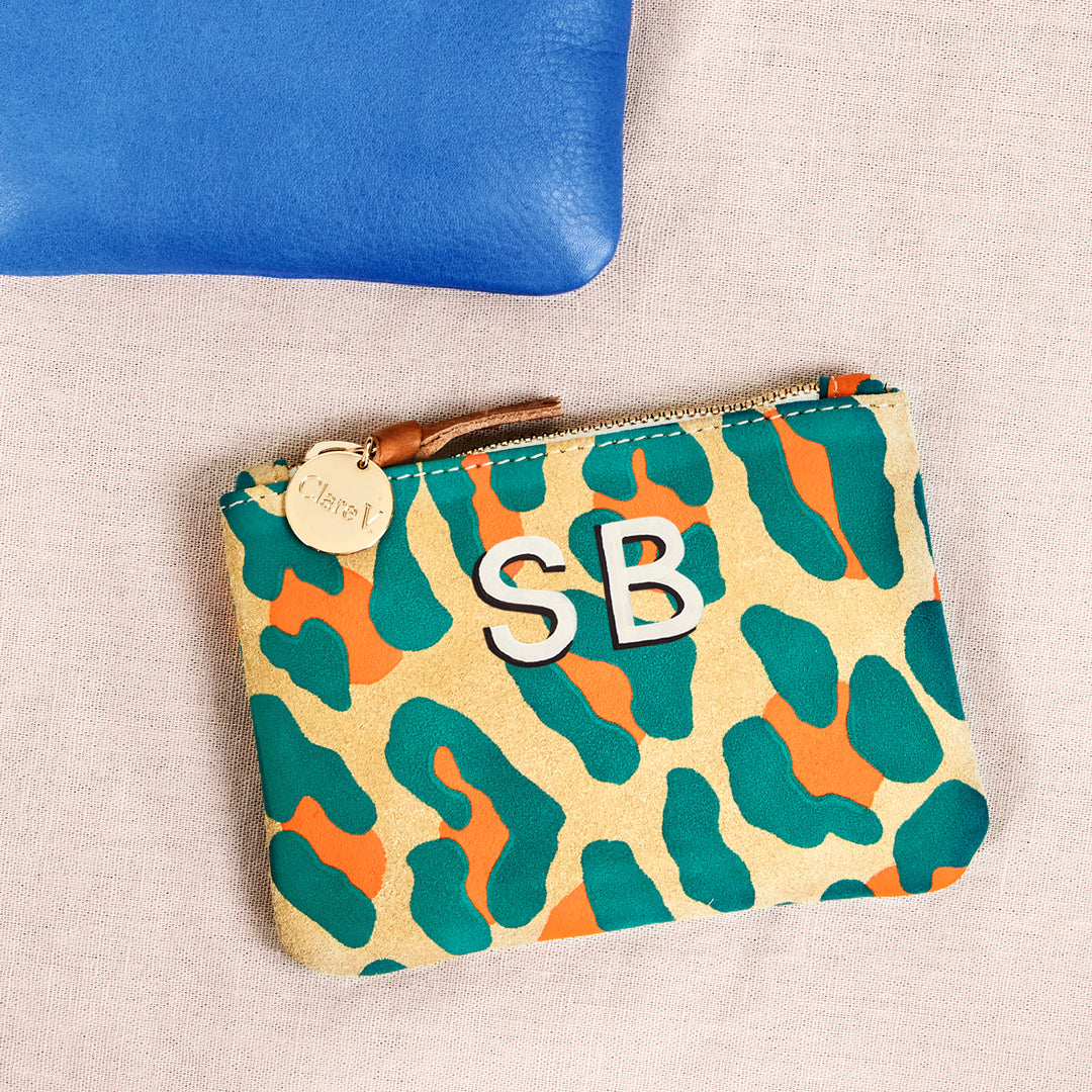 Neon Cat Suede Coin Clutch with Hand-Painted Monogram
