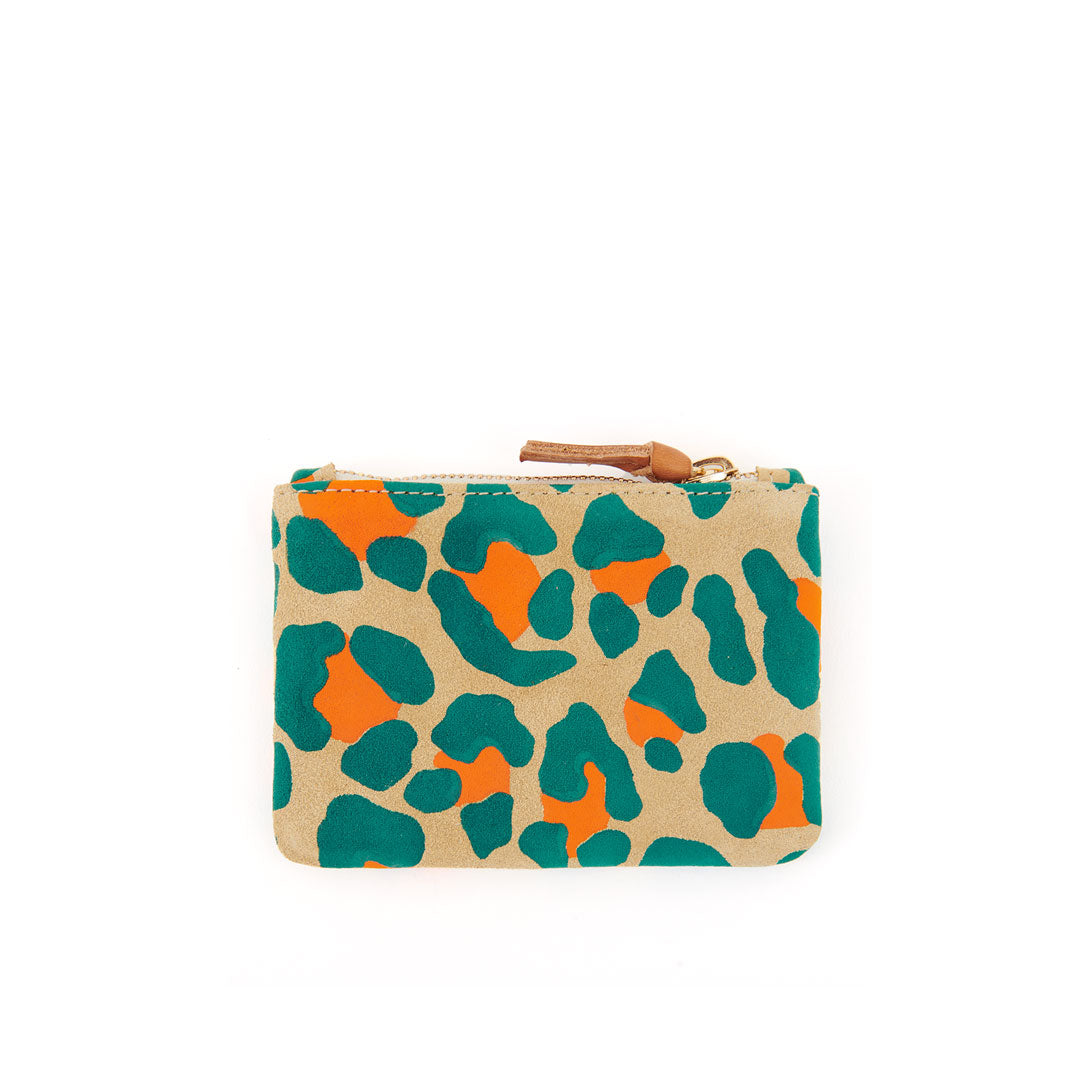 Neon Cat Suede Coin Clutch - Back