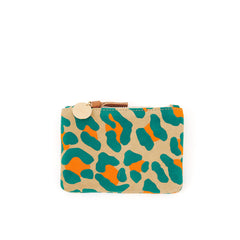 Neon Cat Suede Coin Clutch - Front