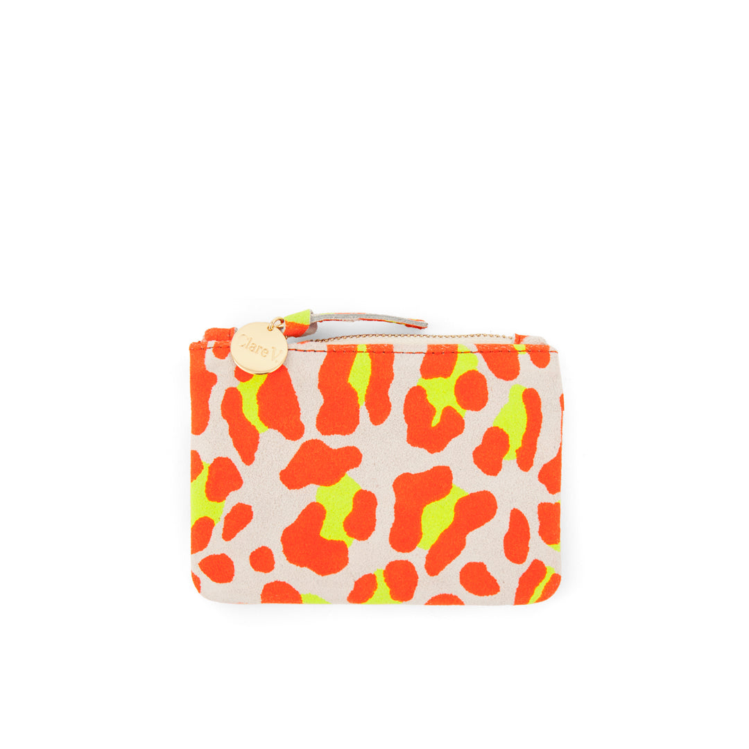Neon Orange Cat Suede  Coin Clutch