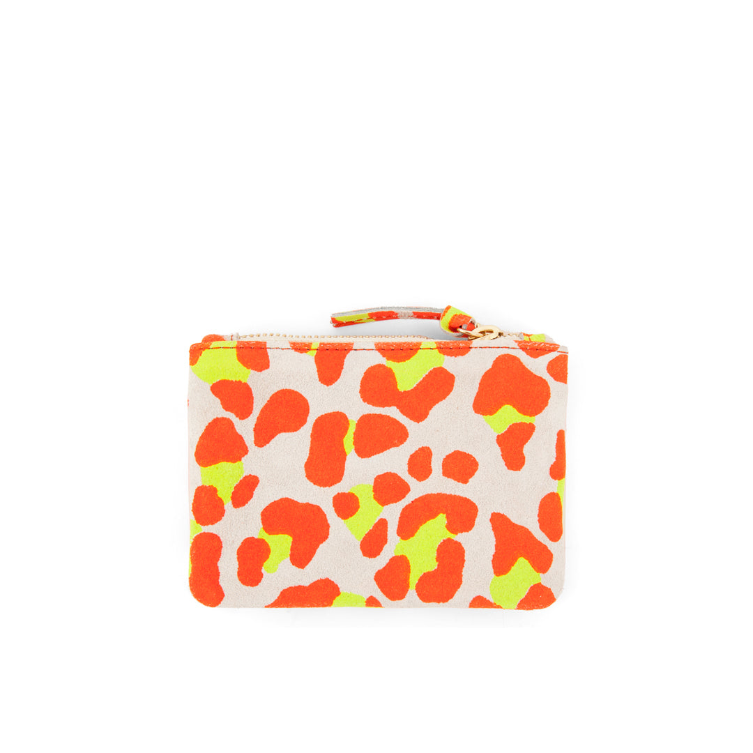 Neon Orange Cat Suede  Coin Clutch - Back
