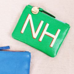 Parrot Green Lizard Coin Clutch with Hand-Painted Monogram