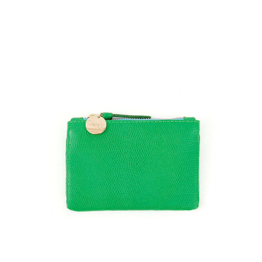 Parrot Green Lizard Coin Clutch - Front