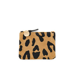 Tan Pablo Cat Suede Coin Clutch - Front