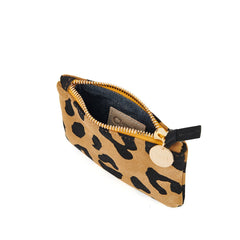 Tan Pablo Cat Suede Coin Clutch - Interior