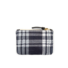 Navy Plastic Plaid Coin Clutch - Back