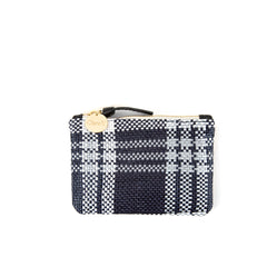 Navy Plastic Plaid Coin Clutch - Front
