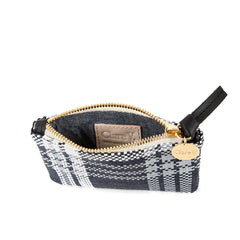 Navy Plastic Plaid Coin Clutch - Interior