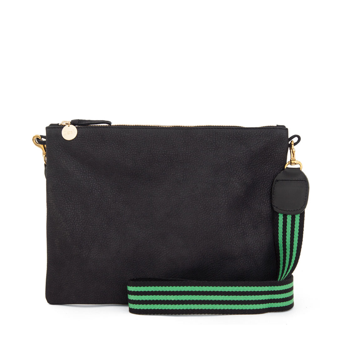 Black Sac Bretelle with Black and Parrot Mini Stripe Crossbody Strap