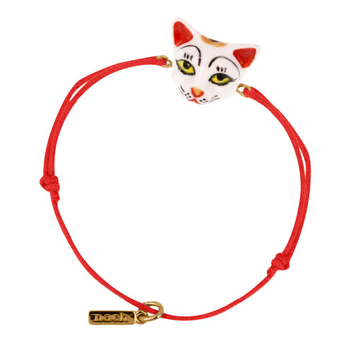 Nach Bijoux Red Lucky Cat Charm Bracelet