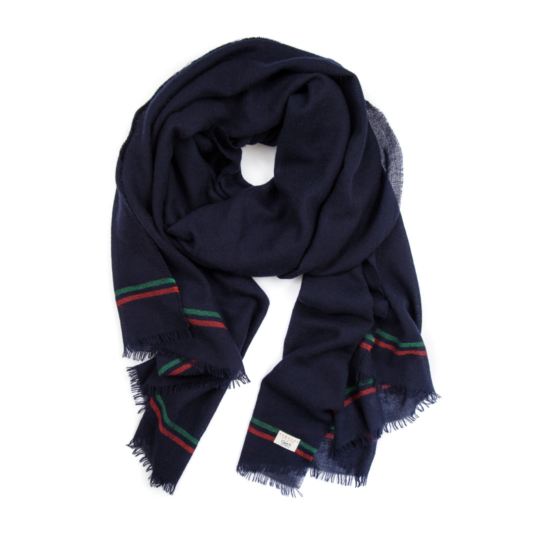 Demylee x Clare V. Scarf - NAVY CASHMERE W/ GREEN & RED STRIPES