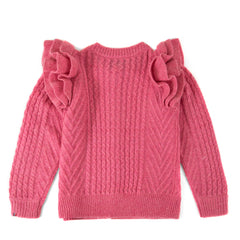 Clare V. x DEMYLEE Pink Nora Cardigan with Ruffles - Back