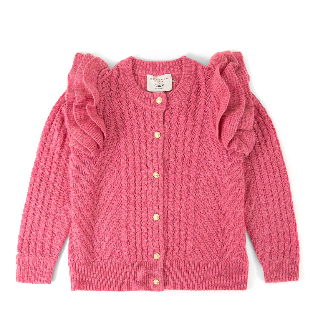 Clare V. x DEMYLEE Pink Nora Cardigan with Ruffles - Front