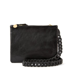 Black Rustic Double Sac Bretelle with Black Link Crossbody Strap