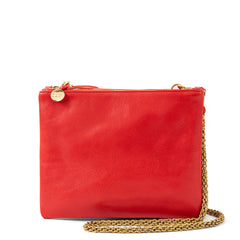 Cherry Red Double Sac Bretelle with Thick Chain Crossbody Strap