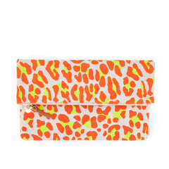 Neon Orange Cat Suede Foldover Clutch with Tabs