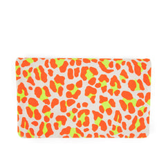 Neon Orange Cat Suede Foldover Clutch with Tabs - Back