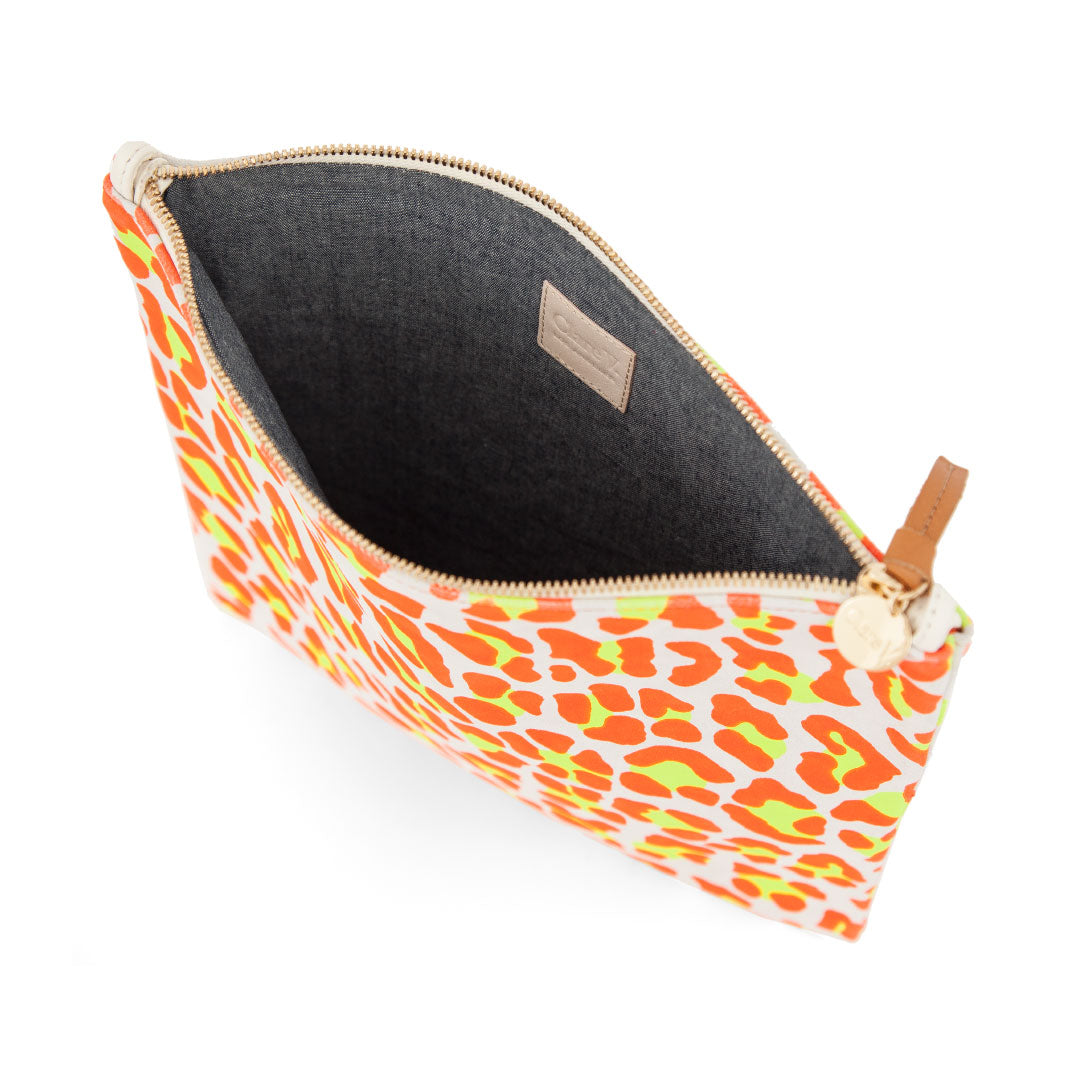 Neon Orange Cat Suede Foldover Clutch with Tabs - Interior