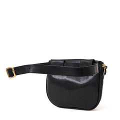 Black Lizard with Pale Pink, Parrot Green, Cerulean Italian Nappa Mini Stripes Fanny Pack - Back