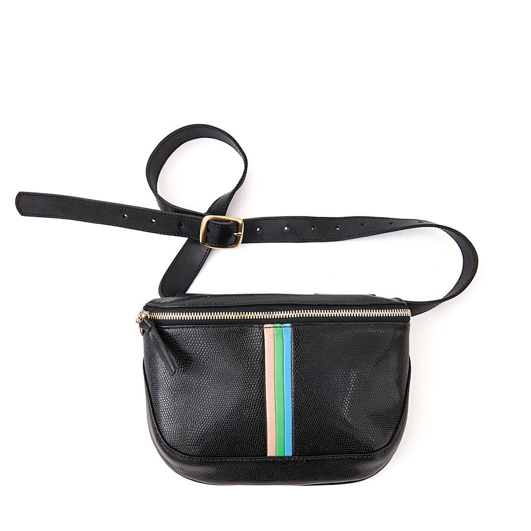 Black Lizard with Pale Pink, Parrot Green, Cerulean Italian Nappa Mini Stripes Fanny Pack