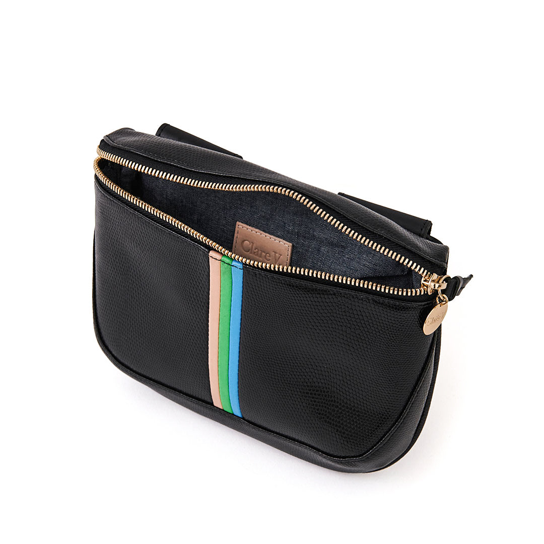 Black Lizard with Pale Pink, Parrot Green, Cerulean Italian Nappa Mini Stripes Fanny Pack - Interior