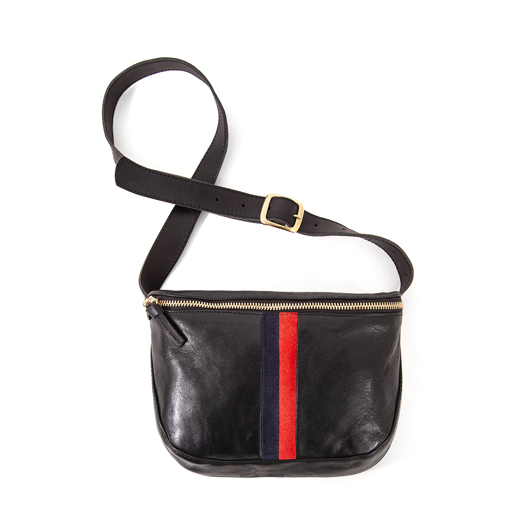 Black with Red & Navy Stripes Fannypack - Front
