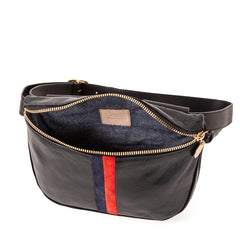 Black with Red & Navy Stripes Fannypack - Interior
