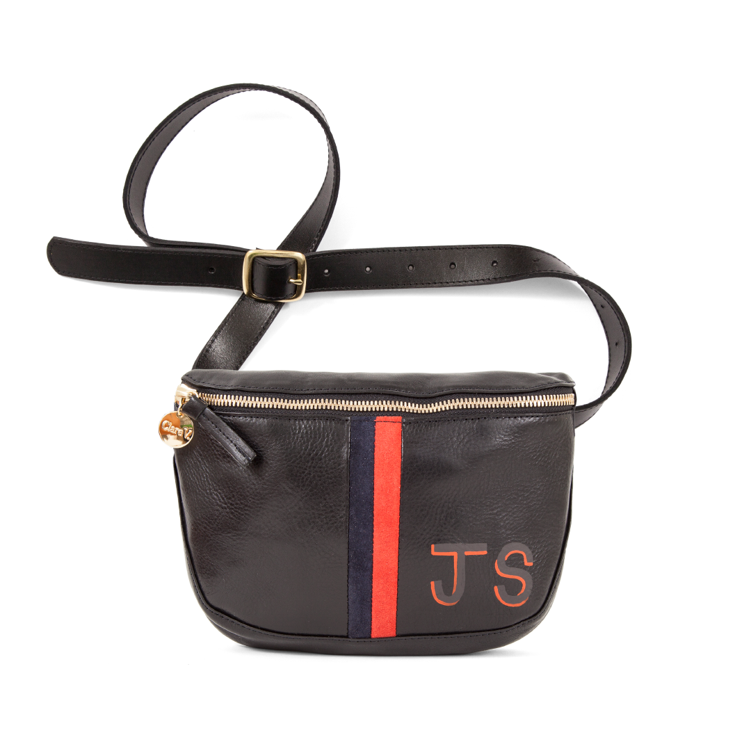 Black with Red & Navy Stripes Fannypack with Painted Monogram