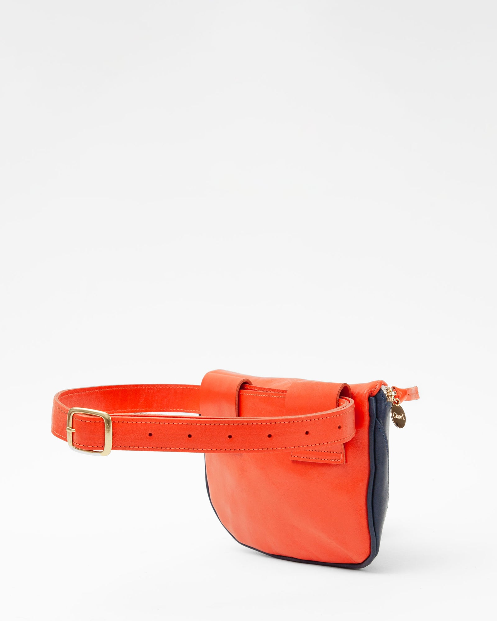 Navy & Blood Orange Fanny Pack  - Back