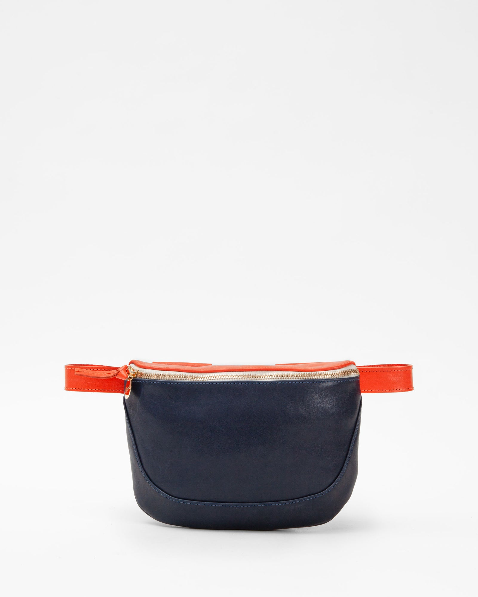 Navy & Blood Orange Fanny Pack - Front
