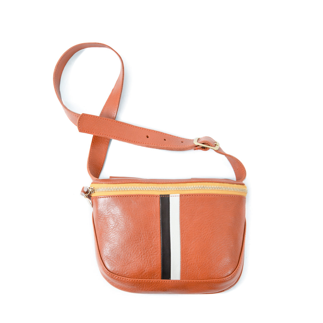 Sienna Rustic with Black and Cream Desert Stripes Fannypack - Front