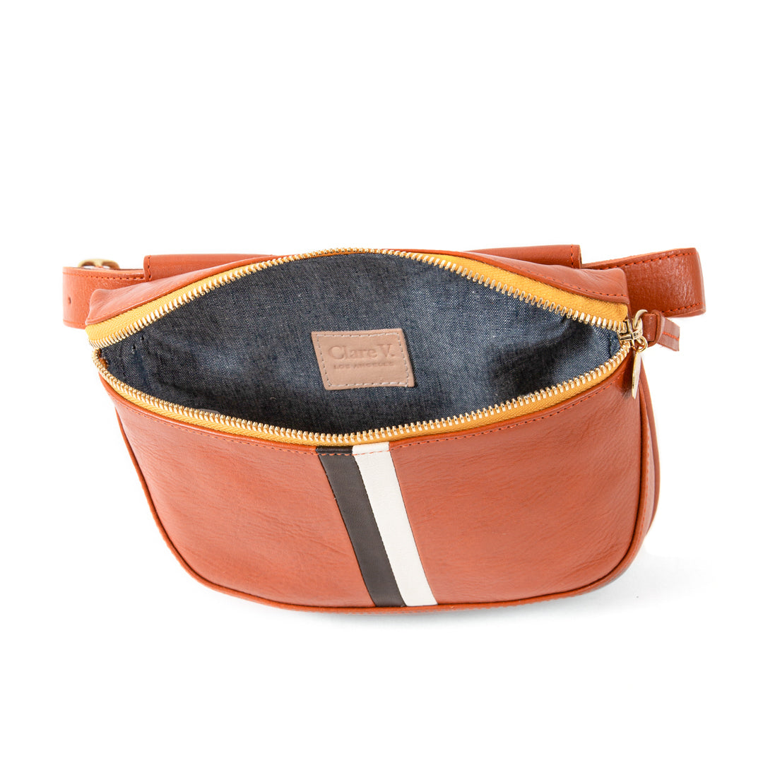 Sienna Rustic with Black and Cream Desert Stripes Fannypack - Interior