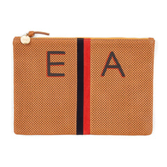 Cuoio Perf w/Stripes Flat Clutch with Hand-Painted Monogram