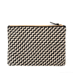 Black and Cream Woven Zig Zag Flat Clutch - Back