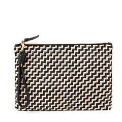 Black and Cream Woven Zig Zag Flat Clutch with Black Cord Wristlet