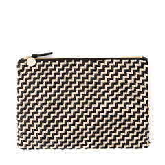 Black and Cream Woven Zig Zag Flat Clutch - Front