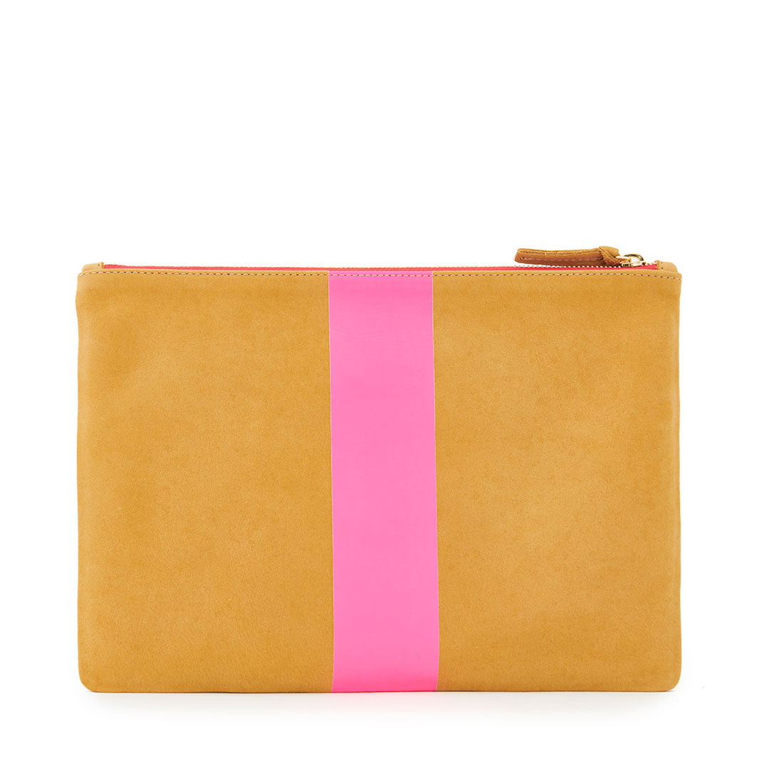 Camel Nubuck with Neon Pink Stripe Flat Clutch - Back