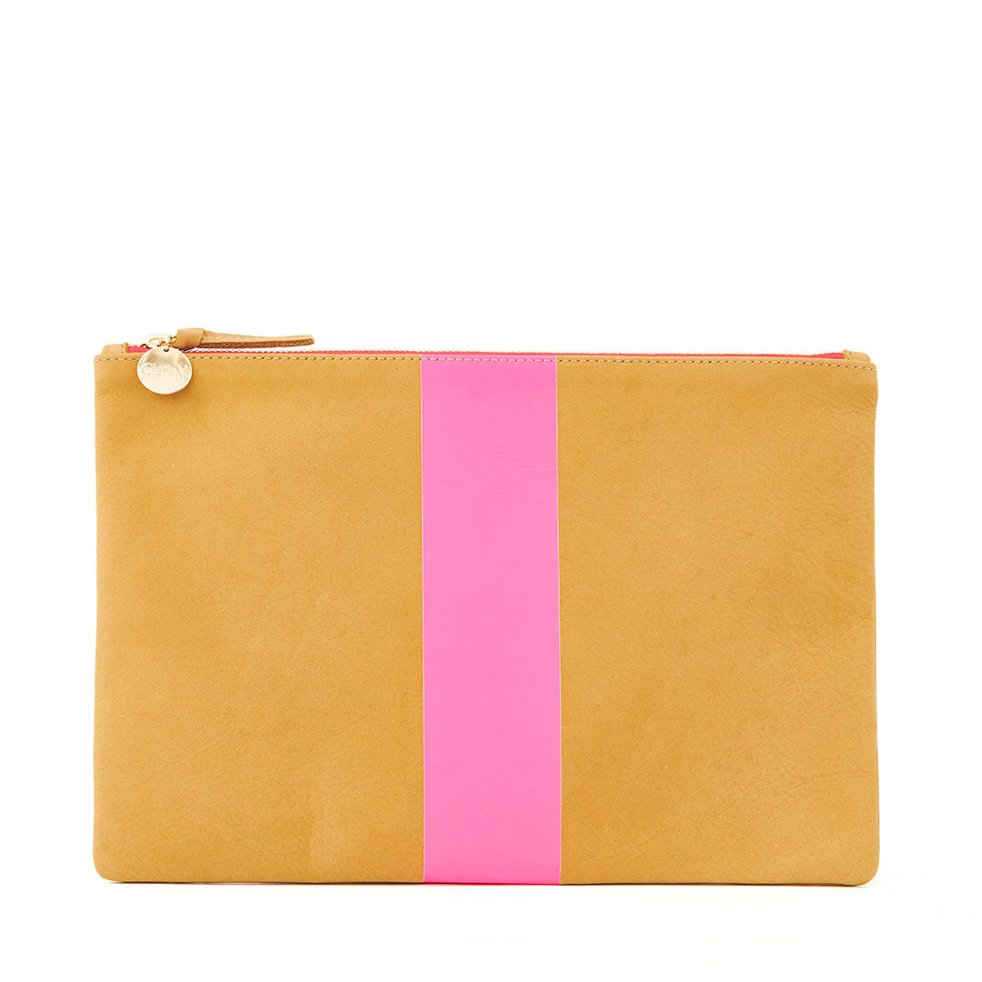 Camel Nubuck with Neon Pink Stripe Flat Clutch - Front