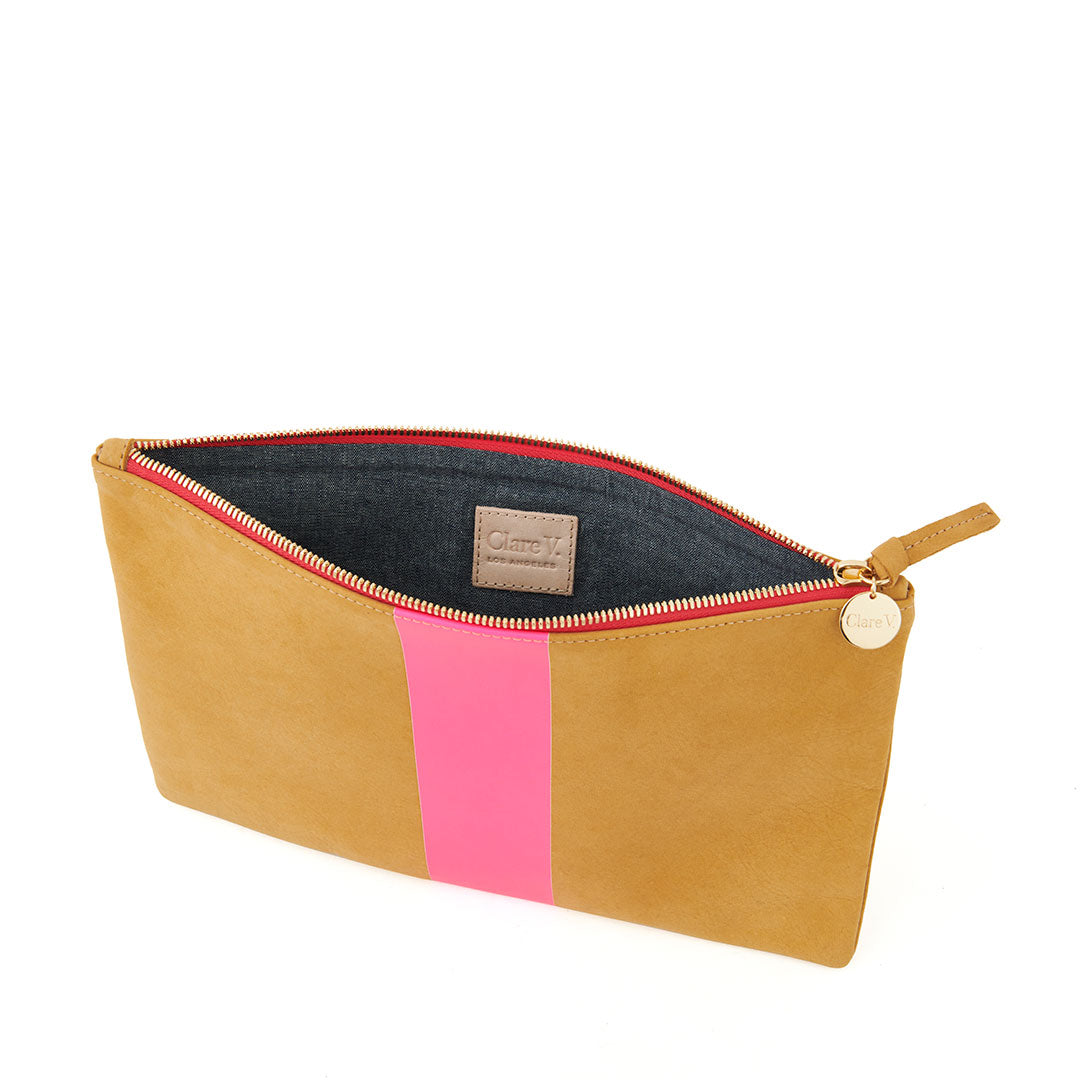 Camel Nubuck with Neon Pink Stripe Flat Clutch - Interior