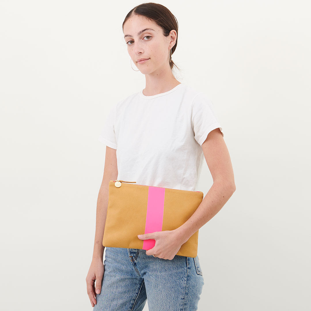 Camel Nubuck with Neon Pink Stripe Flat Clutch