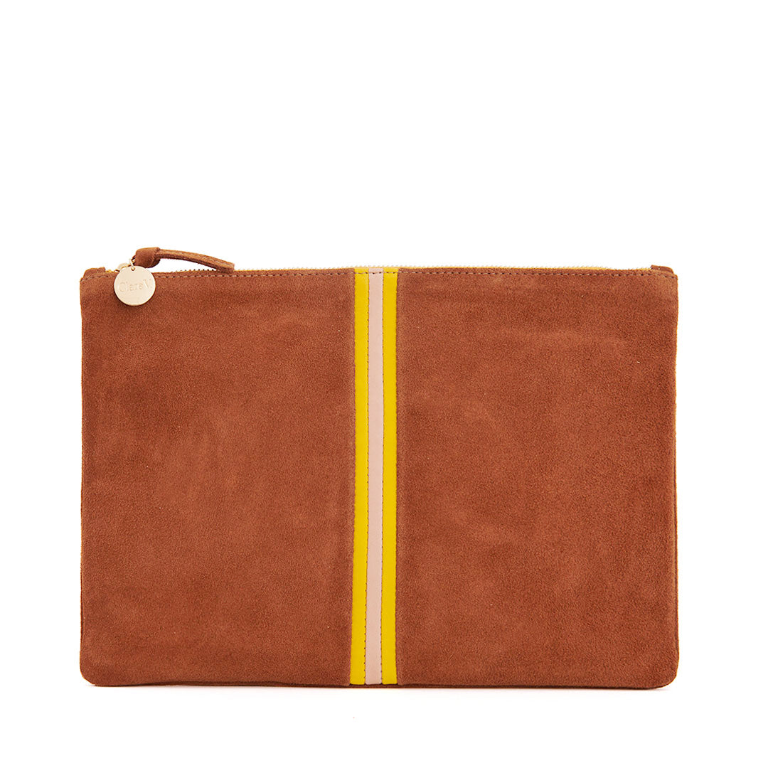 Chestnut Suede with Canary, Pale Pink and Canary Italian Nappa Mini Stripes